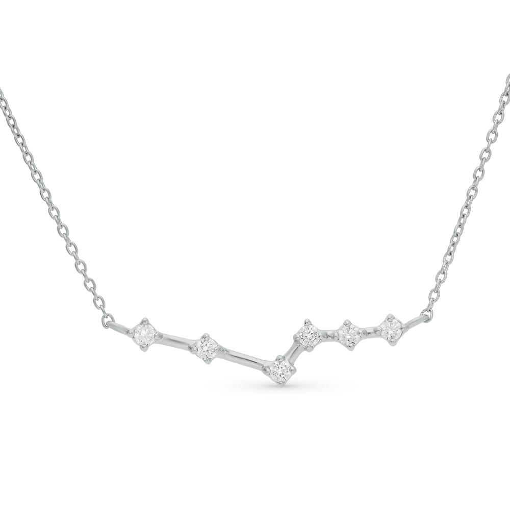 шейное украшение из серебра с фианитом SUNLIGHT