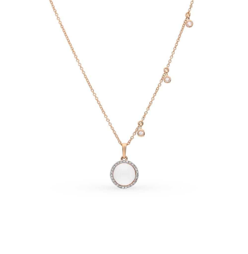 золото шейное украшение с кварцем и бриллиантами SUNLIGHT