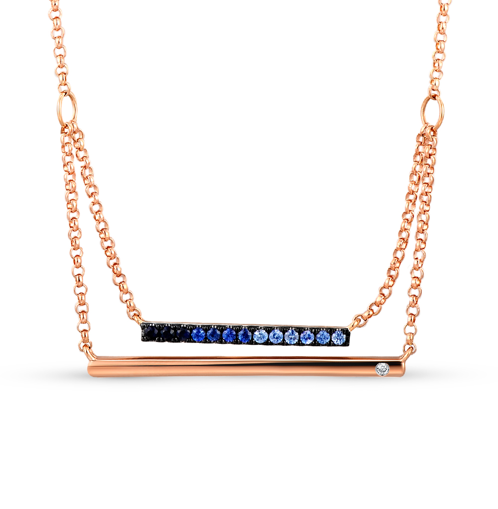 золото шейное украшение с сапфирами и бриллиантами SUNLIGHT