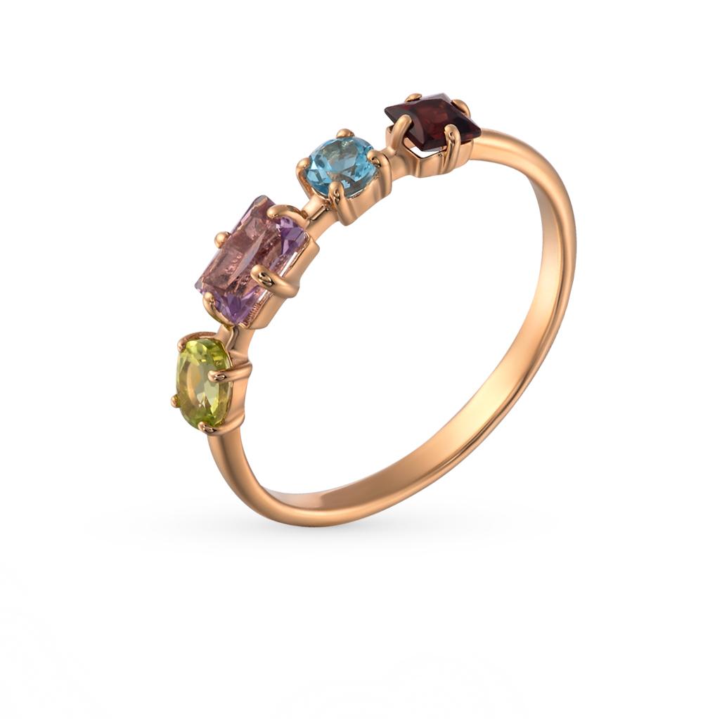 золотое кольцо с аметистами, гранатами, топазами и хризолитами SUNLIGHT