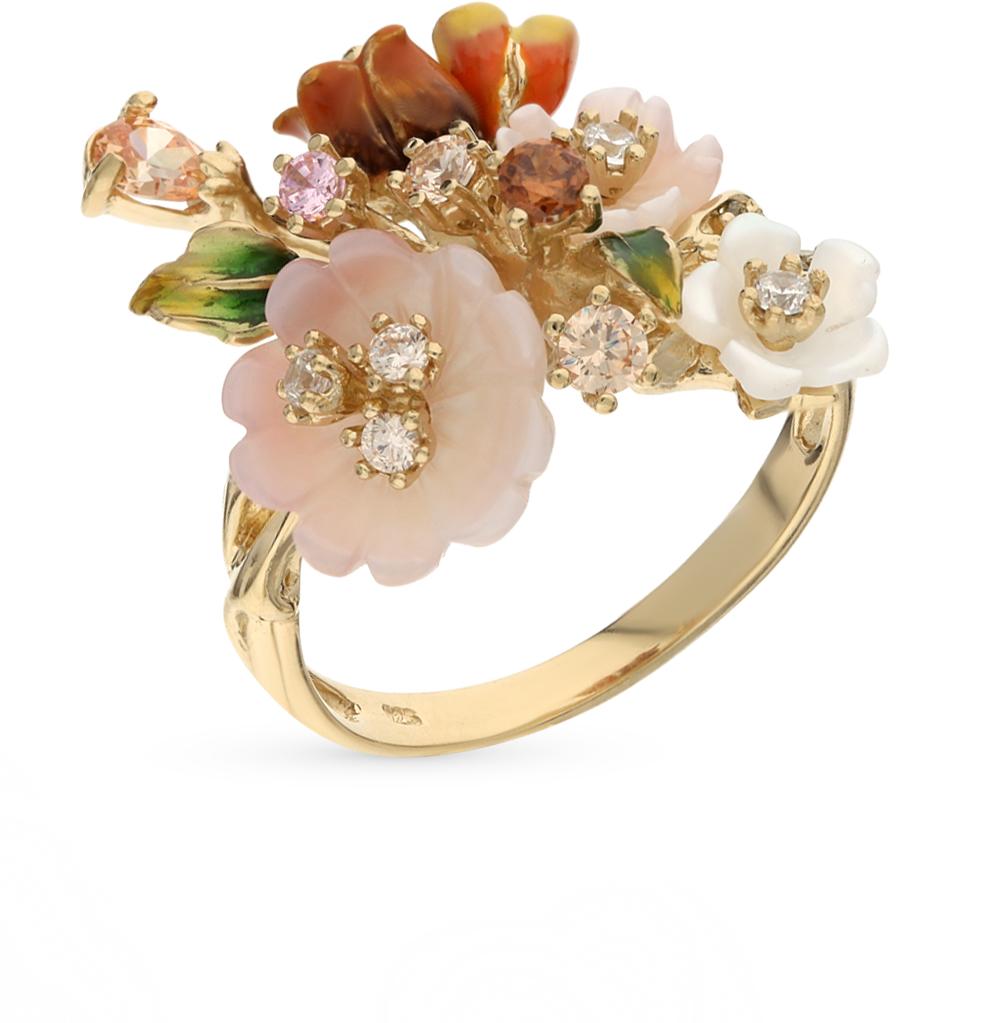 Фото «серебряное кольцо с перламутром, фианитами и эмалью»