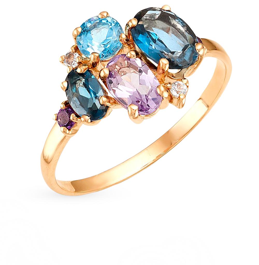 золотое кольцо с аметистом и топазами SUNLIGHT