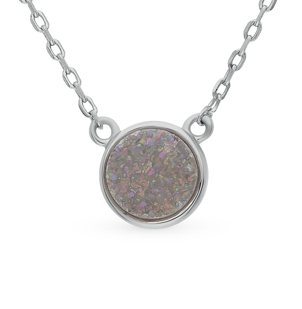 шейное украшение из серебра с кристаллами SUNLIGHT