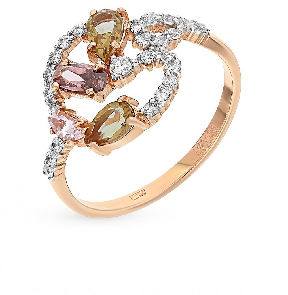 золотое кольцо с фианитами, родолитами, морганитами и султанитами SUNLIGHT