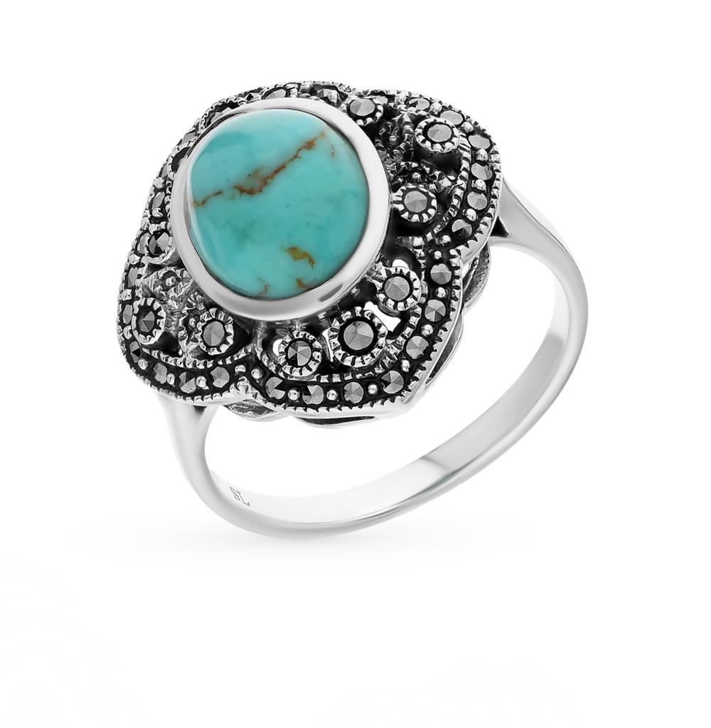 Фото «серебряное кольцо с бирюза и марказитами»