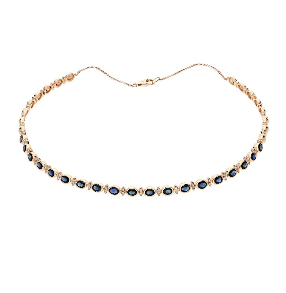 золотое шейное украшение с сапфирами и бриллиантами SUNLIGHT
