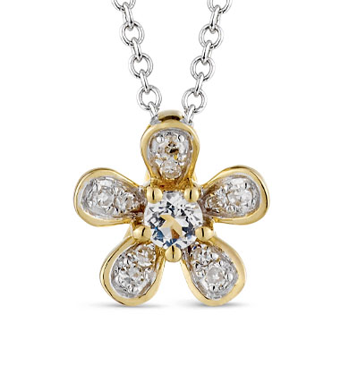 золотая подвеска с топазами и бриллиантами SUNLIGHT