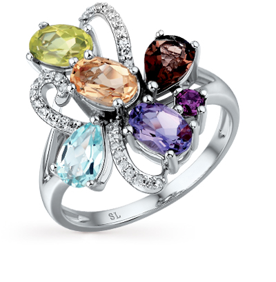 золотое кольцо с бриллиантами и кварцами дымчатыми SUNLIGHT