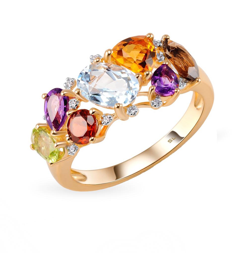 золотое кольцо с аметистом и гранатом SUNLIGHT