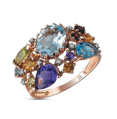 золотое кольцо с бриллиантами, аметистами, гранатами, топазами, цитринами и хризолитами SUNLIGHT