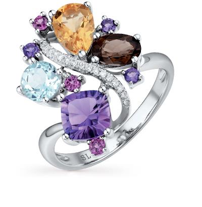 золотое кольцо с бриллиантами, аметистами, гранатами и топазами SUNLIGHT