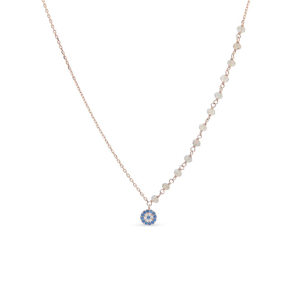 шейное украшение из серебра с фианитами и шпинелем синтетической SUNLIGHT
