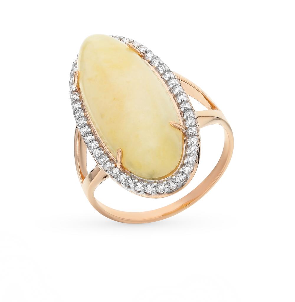 Фото «золотое кольцо с фианитами и янтарём»